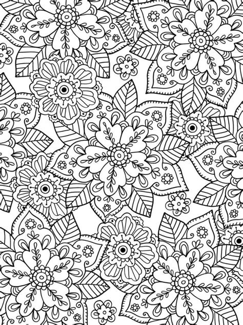 Felicity French - Leafy Floral Print | Mandala coloring