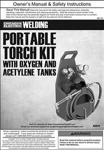Manual For The 65818 Portable Torch Kit With Oxygen And