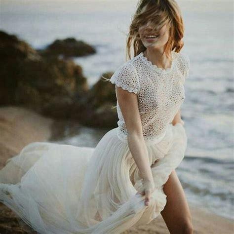 braut mit spitzenkleid  strand beach wedding