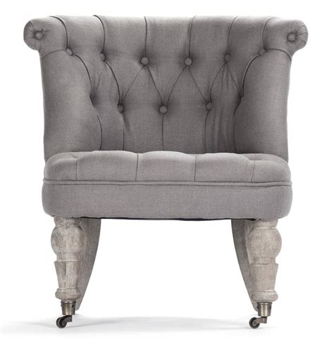 amelie country grey linen tufted accent chair