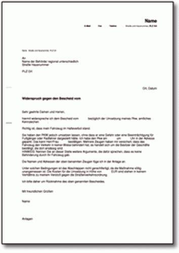 widerspruch gegen abschleppen eines pkw