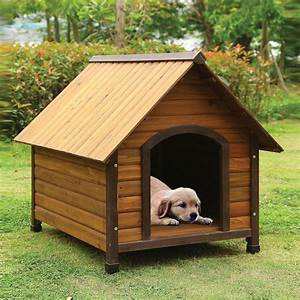 woody country log cabin small dog house outdoor pet With outside dog shelter