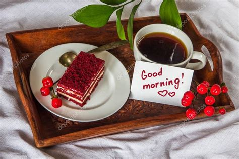Coffee beans require roasting before they can be brewed. Breakfast in bed. Cup, coffee, red, velvet, cake and note with t — Stock Photo © sommessa.yandex ...