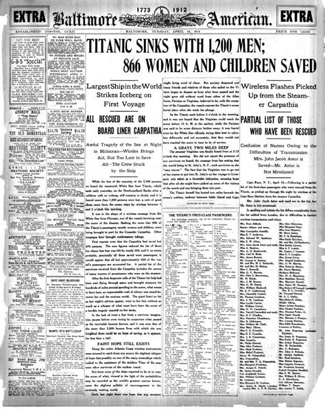 "99-year-old newspaper with the headline ""TITANIC SINKS"
