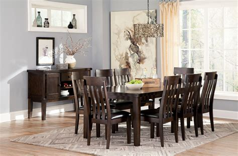 Haddigan Dark Brown Rectangular Extendable Dining Room Set