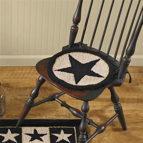 Primitive Hooked Chair Pads by Black Hooked Chair Pad Primitive Home Decors