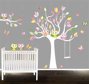 girls owl wall decals nursery decal girls nursery tree With nursery wall stickers