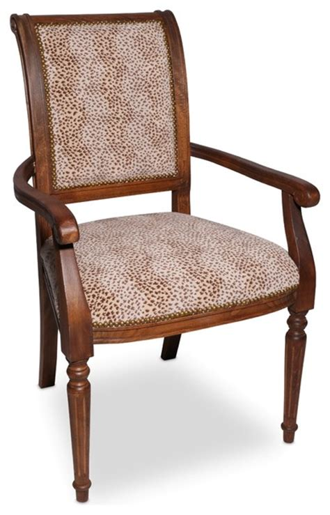 decorator arm chair with cheetah print traditional