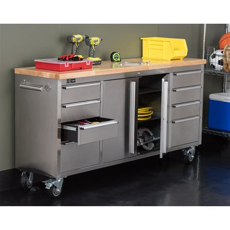 trinity stainless steel rolling rubberwood top workbench