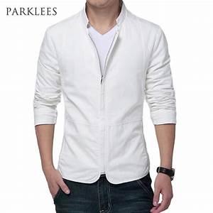 Brand White Jacket Men 2017 Fashion Design Mens Slim Fit