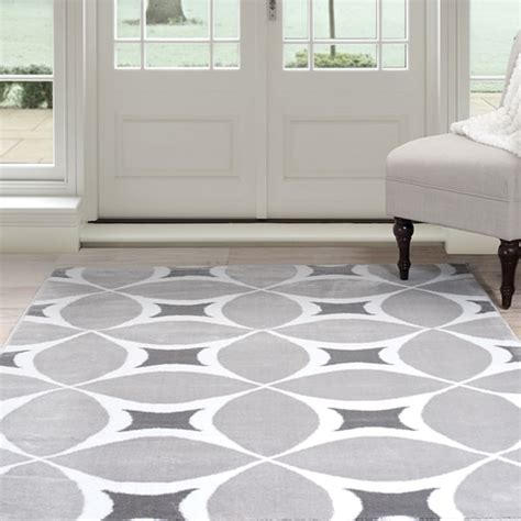 shop windsor home geometric area rug grey white      shipping today