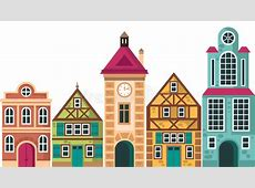 Row Of Different Houses Houses, Cottage Buildings, Vector