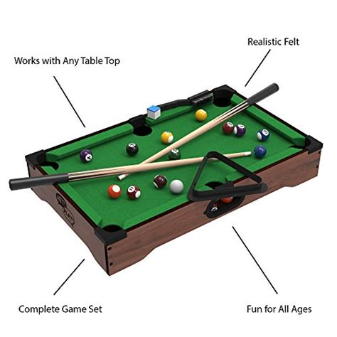 small pool table size trademark mini tabletop pool set billiards includes 5539