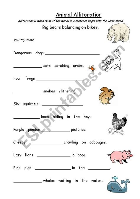 animal alliteration esl worksheet by kfretwell