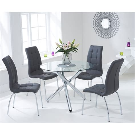 glass table with chairs mark harris odessa 100cm round glass table with 4 grey