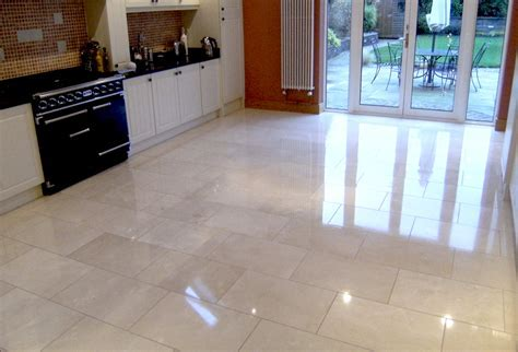 Polished crema marfil marble floor   Residential client