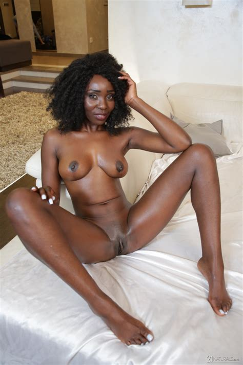 Curly Haired Ebony With Natural Boobs Takes White Pecker