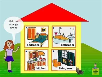 Rooms Cartoon Bedroom Living Bathroom Kitchen Vocabulario