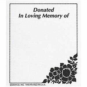 demcor bookplates donated in loving memory of demcocom With bookplate templates for word