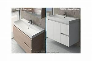 grand meuble lavabo suspendu td 100cm avec portes et With lavabo avec meuble salle de bain