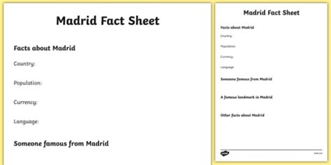 Madrid Factsheet Writing Template (teacher made)