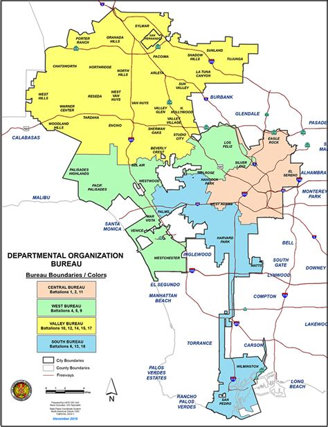 bureau valll馥 lafd bureaus map los angeles department