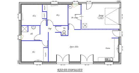plan maison 4 chambres gratuit charmant plan maison plain pied gratuit 4 chambres 14