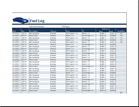 ms excel fuel consumption log template word document