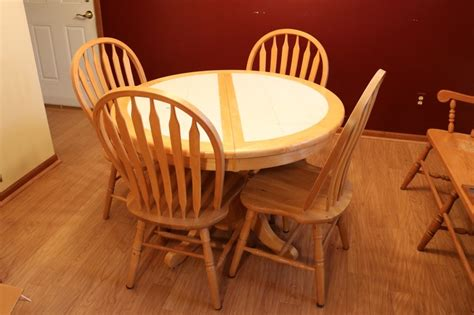 tile top kitchen table and chairs oak tile top kitchen table 4 oak chairs hibid 9470