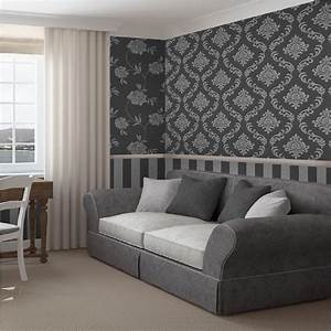 Fine Decor Torino Stripe Textured Metallic Vinyl Wallpaper ...