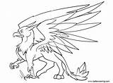 Griffin Coloring Pages Gryphon Sketch Printable Adults Print sketch template