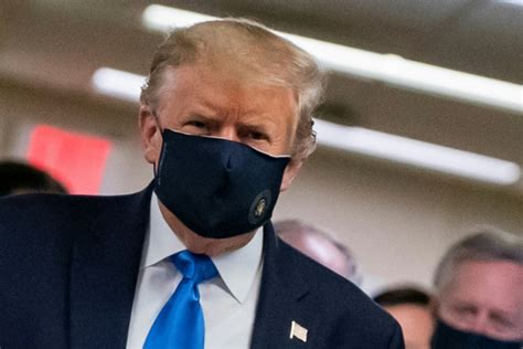 trump mask donald face covid wearing patriotic tweet masque says his masks importance maintenant conscient without walter reed patch independent