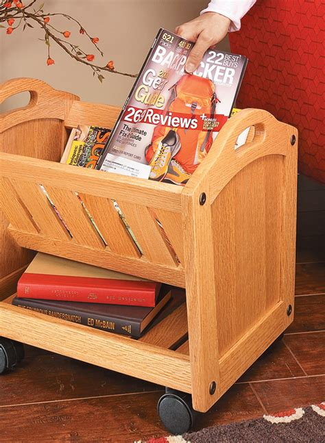 mobile magazine rack woodworking project woodsmith plans