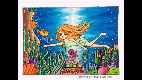 gradasi warna tema berenang  laut speed drawing