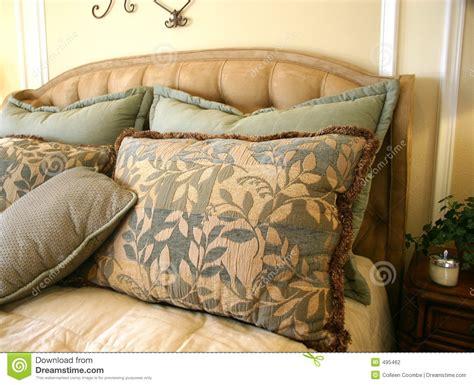 beautiful bed pillows stock photography image