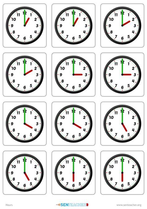 sen clocks card pairs printable worksheet