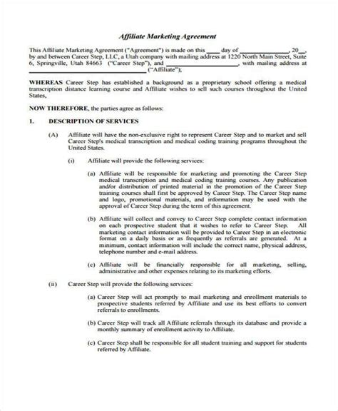 affiliate agreement template 7 marketing agreement form sles free sle exle format