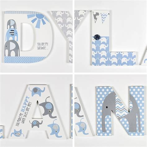 blue grey elephant letters  wooden letters company