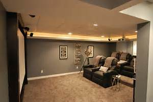 Amazing Grey Painted Wall Color Scheme Small Basement Idea Black Vinyl Reclyning Sofa Basement Design Ideas For Family Room