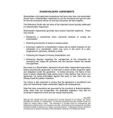 Simple Shareholders Agreement Template by Simple Shareholders Agreement Template 11 Shareholder