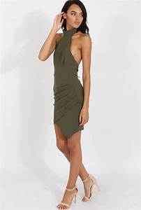 Khaki High Neck Side Ruched Backless Dress - Tulip