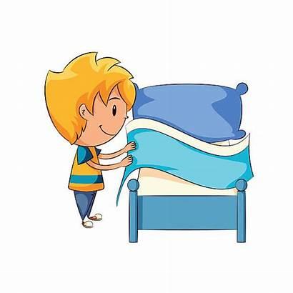 Bed Clipart Making Kid Bett Machen Cartoon