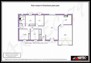 plan de maison plain pied 4 chambres avec garage With plan de maison 100m2 0 plan de maison 100m2 avec garage idees novatrices de la