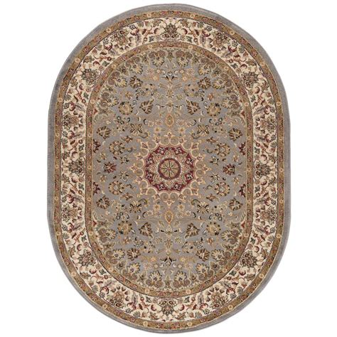 Blue Oval Rug by Tayse Rugs Elegance Blue 6 Ft 7 In X 9 Ft 6 In Oval
