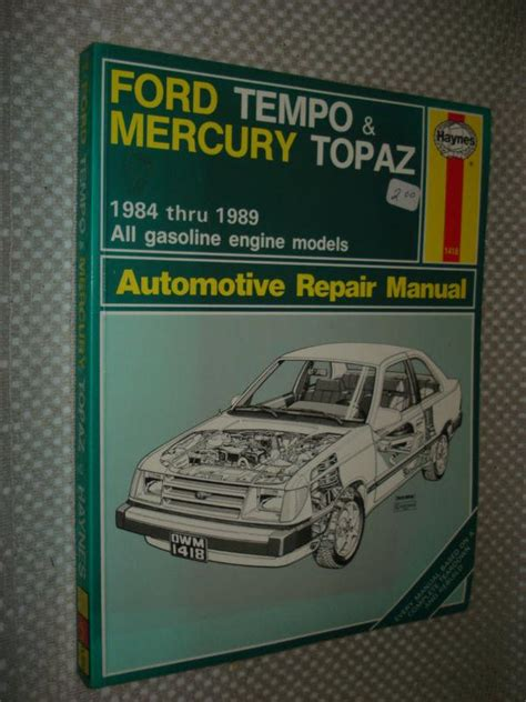 best car repair manuals 1985 mercury topaz electronic valve timing find 1984 1989 ford tempo mercury topaz shop manual service book 85 86 87 88 haynes motorcycle