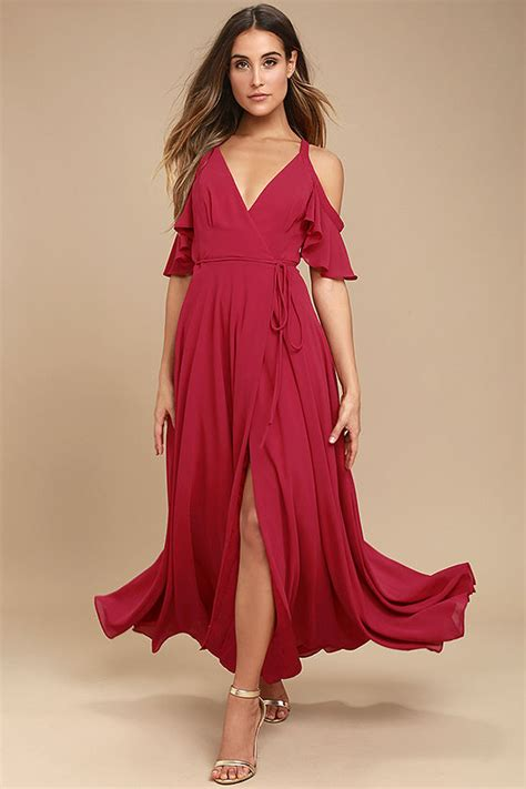 Lovely Berry Pink Dress Maxi Dress Off The Shoulder
