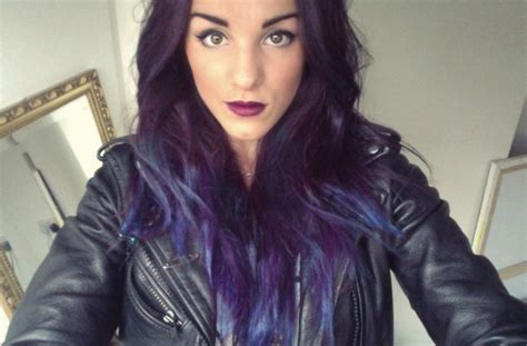 Girl Abbie Fowler With Dip Dyed Hair Dark Purple With