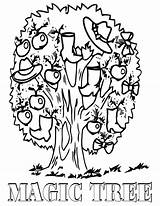 Coloring Pages Magic Tree Cartoon sketch template