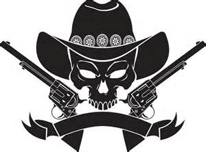 Skull with Cowboy Hat and Guns