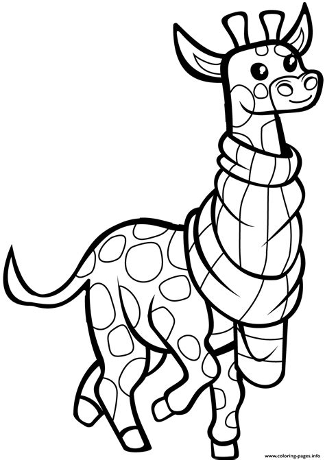 funny giraffe  scarf coloring pages printable